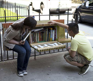 En bænk med bøger